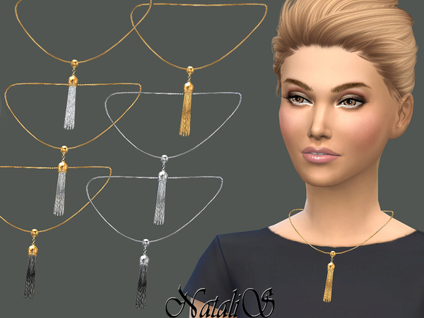 Sims 4 Tassel pendant necklace by NataliS at TSR