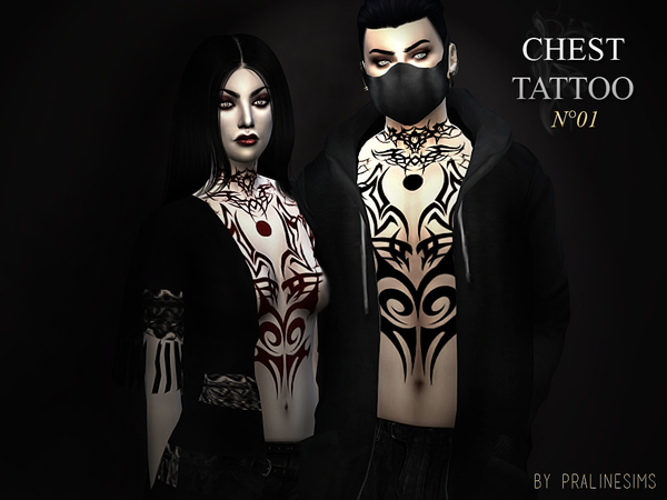 Chest Tattoo N01 By Pralinesims At Tsr 187 Sims 4 Updates