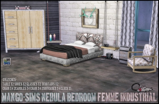Sims 4 Mango Sims Nebula Bedroom recolor at Loverat Sims4