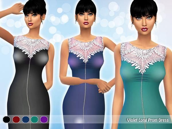 Sims 4 Violet Long Prom Dress by Saliwa at TSR