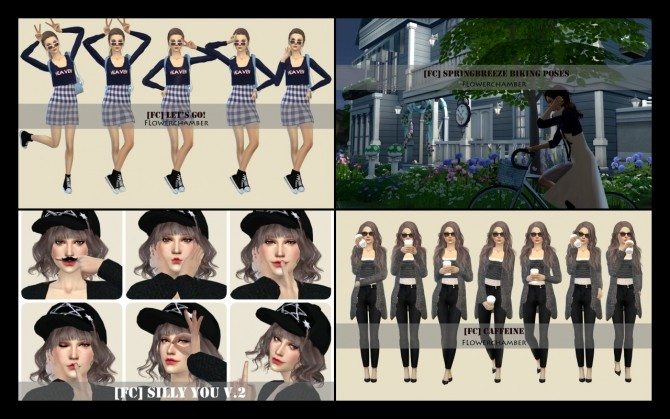 Sims 4 20 single sim pose sets ingame ver. update at Flower Chamber