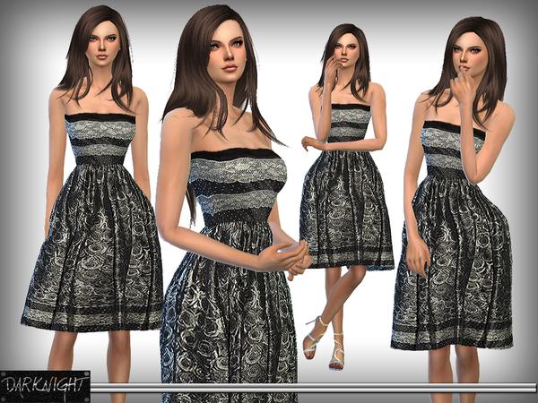 Sims 4 Lace Print Midi Dress by DarkNighTt at TSR