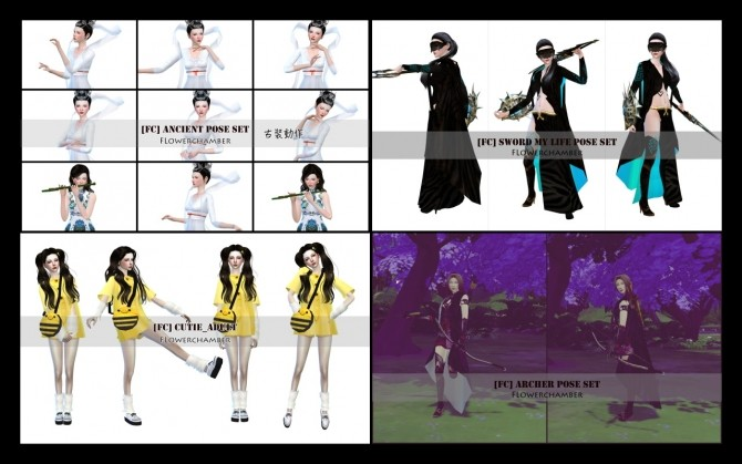 20 single sim pose sets ingame ver update at flower chamber sims 4 updates. Black Bedroom Furniture Sets. Home Design Ideas