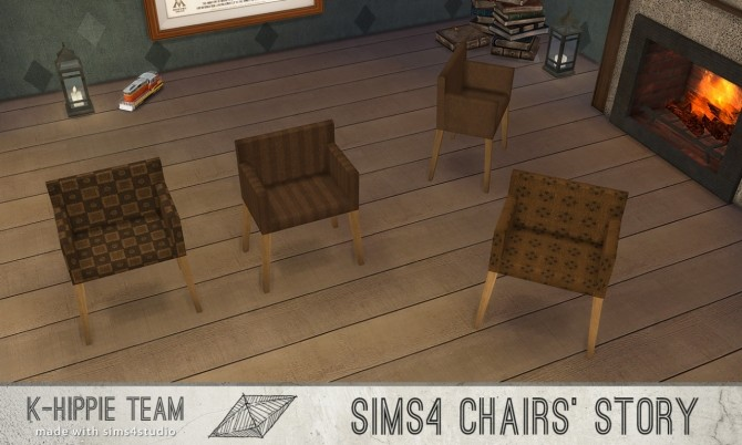 Sims 4 Ekai Chairs serie in Green & in Brown at K hippie