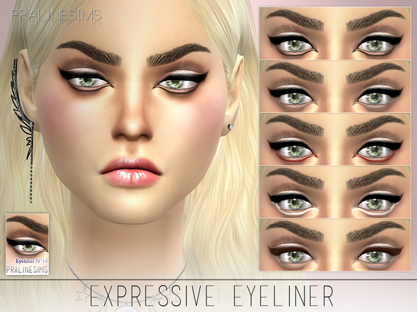 Sims 4 Expressive Eyeliner N14 by Pralinesims at TSR