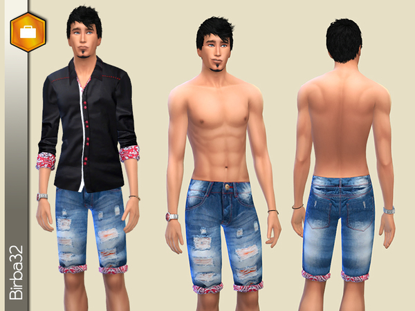 Sims 4 Fashion man Red Denim by Birba32 at TSR
