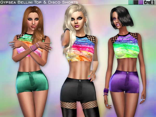 Sims 4 Top and Disco Shorts by Cre8Sims at TSR