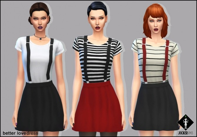 Sims 4 Better Love Dress with 3D suspenders at Jocker Sims