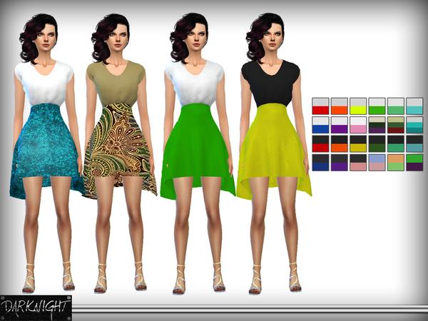 Sims 4 High Waist Skirt Dress by DarkNighTt at TSR
