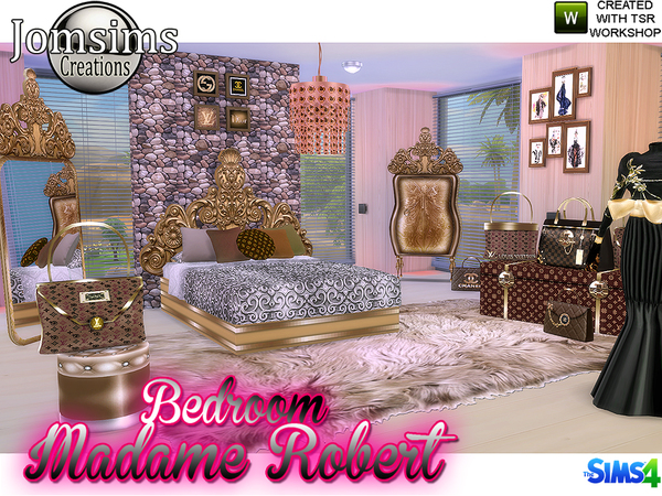 Sims 4 Madame robert Bedroom Baroque modern by jomsims at TSR