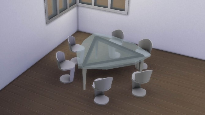 Sims 4 Futuristic triangular table and chair by necrodog at Mod The Sims