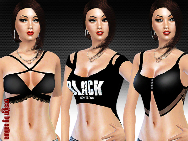 Sims 4 Black is New Trend Top Set 001 by Saliwa at TSR