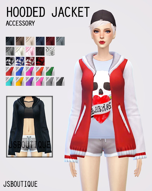 Hooded Jacket Accessory At Jsboutique 187 Sims 4 Updates