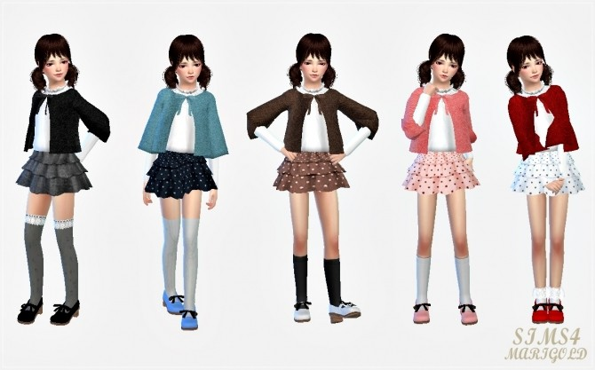Child Cape Coat Amp Tiered Skirt At Marigold 187 Sims 4 Updates