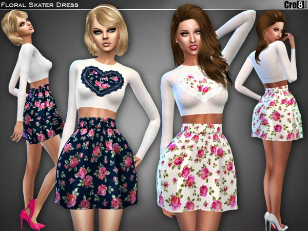 Sims 4 Floral Heart Skater Dress by Cre8Sims at TSR
