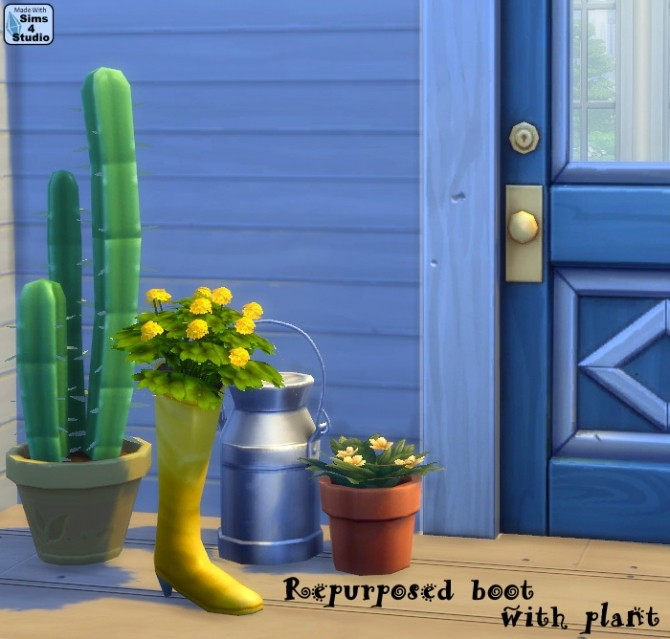 Sims 4 Repurposed boot with plant by OM at Sims 4 Studio