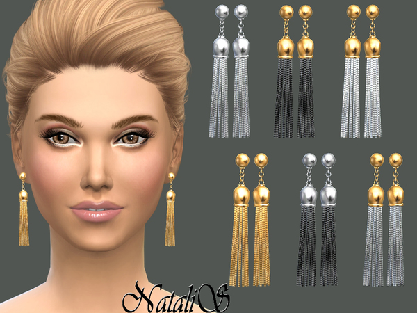 Chain tassel earrings by NataliS at TSR image 8101 Sims 4 Updates