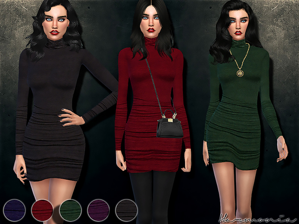 Sims 4 Figure forming Turtleneck Dress by Harmonia at TSR