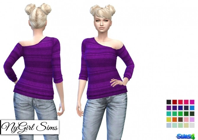 Knitted Stripe One Shoulder Sweater at NyGirl Sims image 816 670x473 Sims 4 Updates
