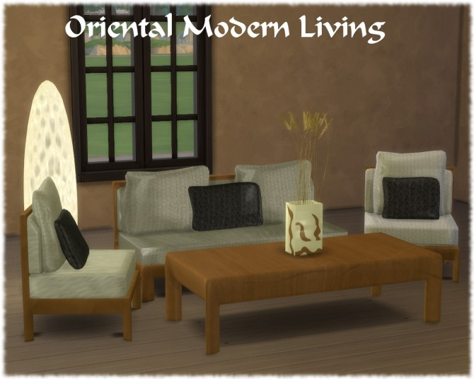 Sims 4 Oriental Modern Living by Semiramide at The Sims Lover