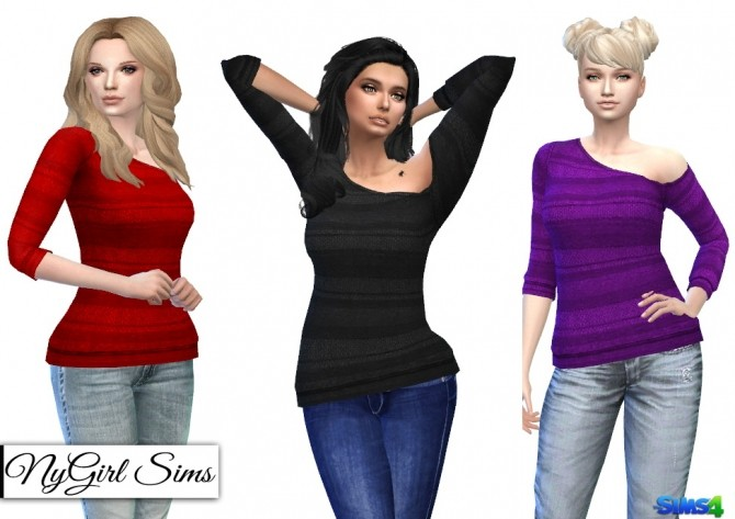 Knitted Stripe One Shoulder Sweater at NyGirl Sims image 823 670x473 Sims 4 Updates