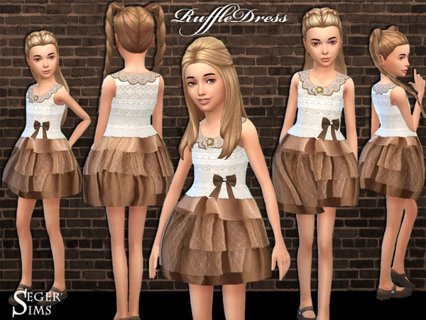 Sims 4 Childs Ruffle Dress by SegerSims at TSR