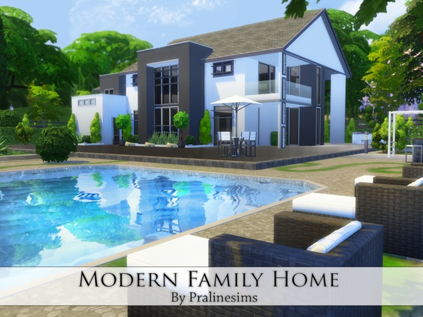 Sims 4 Modern Family Home by Pralinesims at TSR