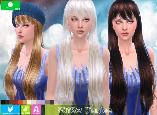 Sims 4 YU183 Janice hair (FREE) at Newsea Sims 4