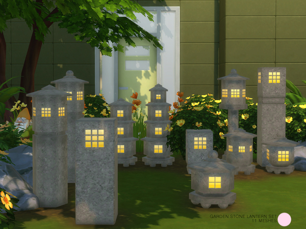 Garden Stone Lantern Set by DOT at TSR image 9100 Sims 4 Updates