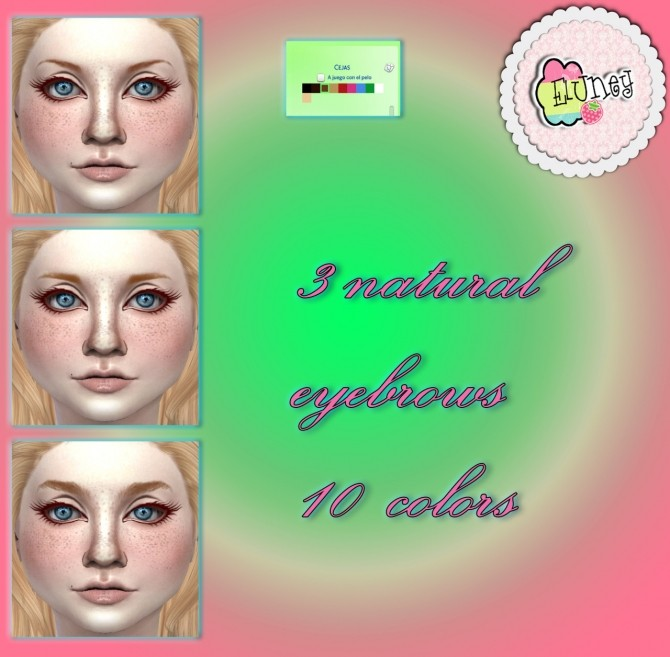 Sims 4 3 Natural eyebrows + Rainbow background at Eluney Design
