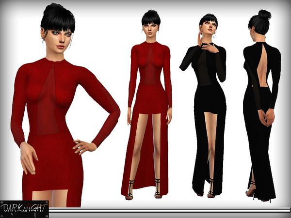Sims 4 High Low Velvet Dress by DarkNighTt at TSR