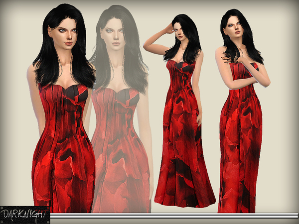 Printed Silk Chiffon Gown by DarkNighTt at TSR image 920 Sims 4 Updates