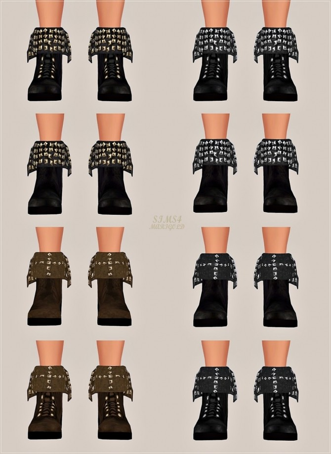 Sims 4 Turn down collar stud ankle boots for males at Marigold