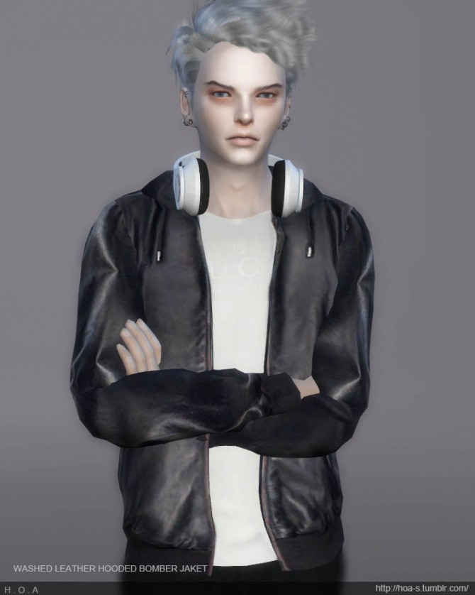 Sims 4 WASHED LEATHER HOODED BOMBER JACKET at HOA