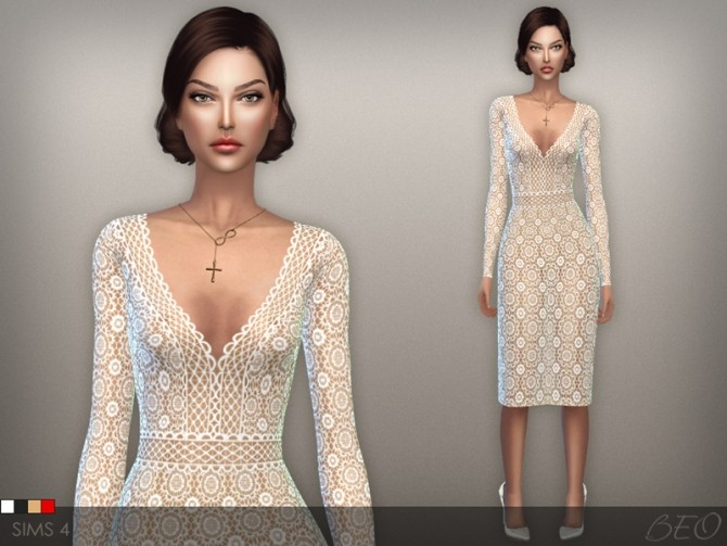 Sims 4 LACE TRANSPARENT MIDI DRESS 02 at BEO Creations