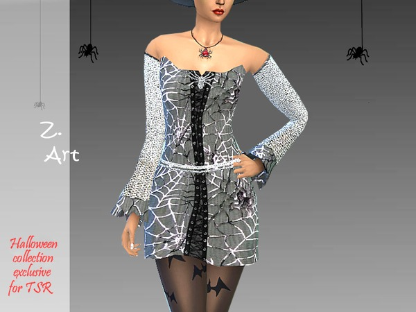 Sims 4 Cobweb Halloween set: costume, boots and hat by Zuckerschnute20 at TSR