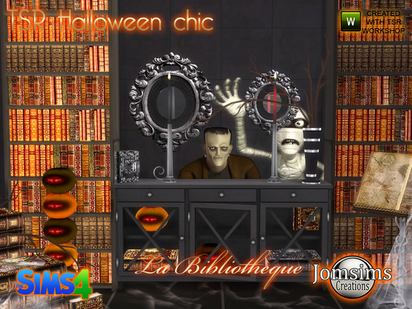 Tsr halloween chic set la bibliotheque by jomsims at TSR image 10108 Sims 4 Updates