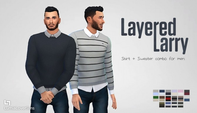 Sims 4 Layered Larry shirt + sweater at LumiaLover Sims