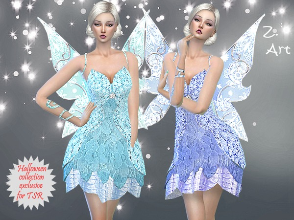 Sims 4 Blue Magic fairy costume by Zuckerschnute20 at TSR
