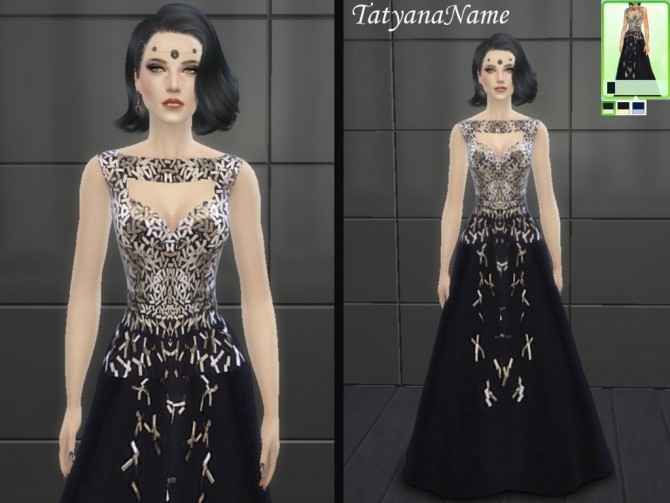 Sims 4 Black official dress with sequins at Tatyana Name