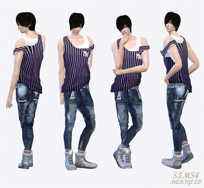 Male tank top slipping down strap at Marigold image 11010 670x619 Sims 4 Updates