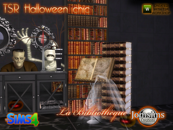 Tsr halloween chic set la bibliotheque by jomsims at TSR image 11124 Sims 4 Updates