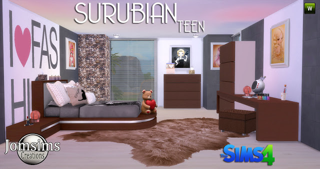 Surubian teenroom at jomsims creations sims 4 updates for Bedroom designs sims 4
