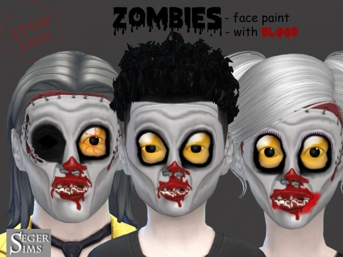 Sims 4 Halloween Zombies Face paint at Seger Sims