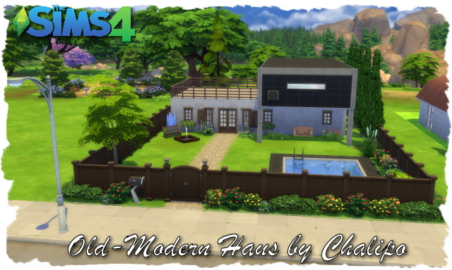 Old modern house by chalipo at all 4 sims sims 4 updates for Classic house sims 4