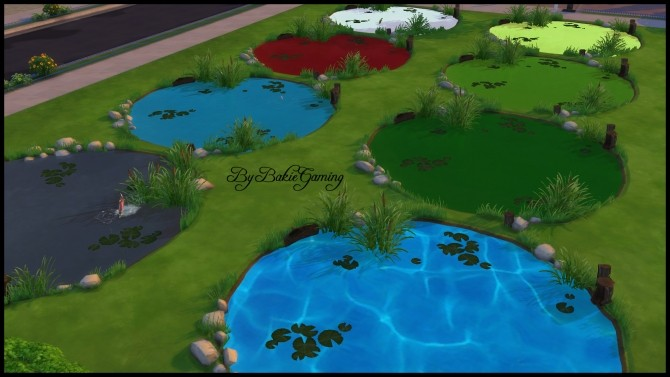 Sims 4 Colorful Ponds (7 recolors) by Bakie at Mod The Sims