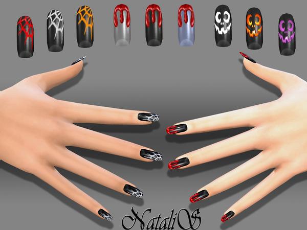 Sims 4 Halloween nails art by NataliS at TSR
