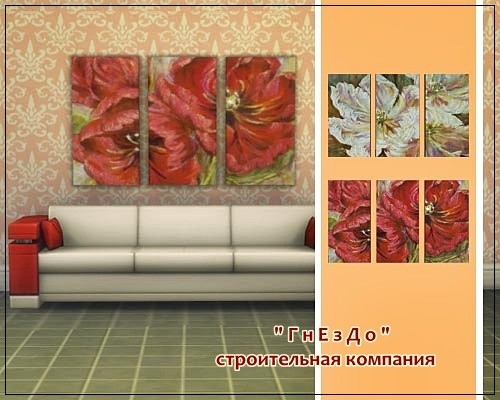 Sims 4 Tulips paintings at Sims by Mulena