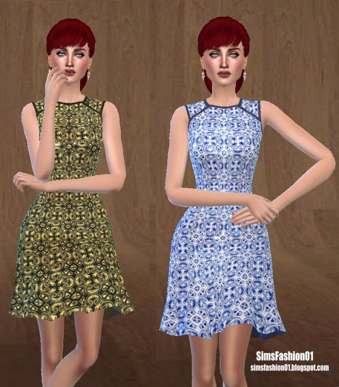 Sims 4 Geometric Print Dress at Sims Fashion01