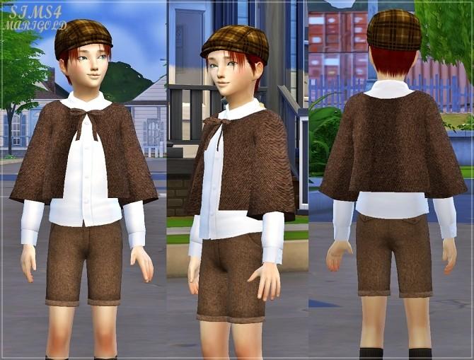Sims 4 Boy woolen shorts & cape coat at Marigold